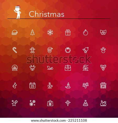 Christmas line Icons set. Vector illustration. - stock vector