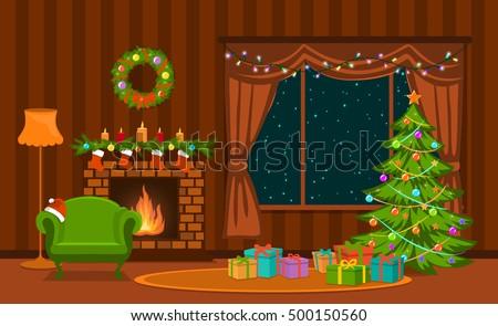 christmas living room. Christmas living room with xmas tree  lights presents fireplace armchair decoration Living Room Xmas Tree Lights Stock Vector HD Royalty Free