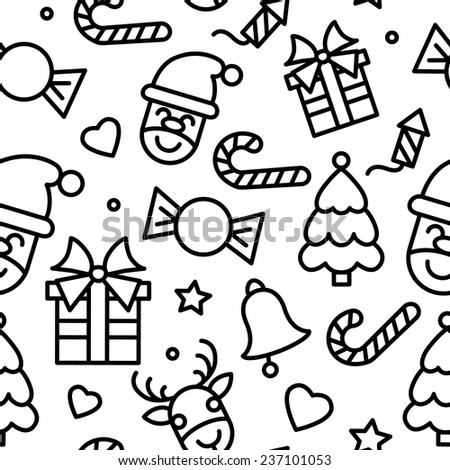 Christmas magic pattern with different winter attributes, such as jingle bells, reindeer, Santa Claus, Christmas gifts, Christmas tree and hearts. Vector illustration