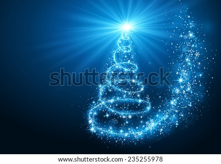 Christmas magic tree with bright star on blue background - stock vector