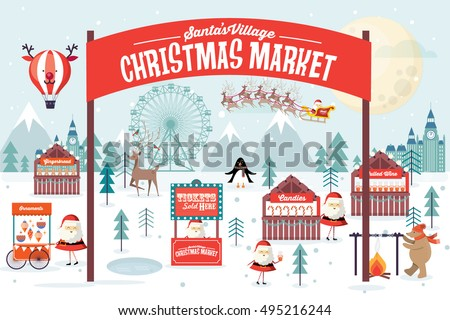 christmas market vector/illustration