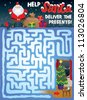Christmas Maze for Kids. Help Santa find his way through the snowy maze to deliver the presents under the Christmas tree! - stock vector