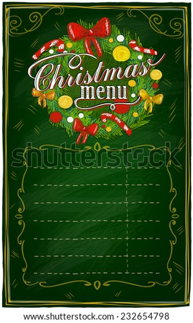 Christmas menu chalkboard with place for text. Eps10 - stock vector