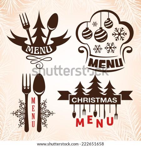 Christmas menu emblems. Symbols collection for restaurant menu design. - stock vector