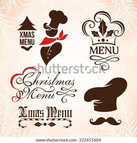 Christmas menu signs. Labels collection for restaurant menu design. - stock vector