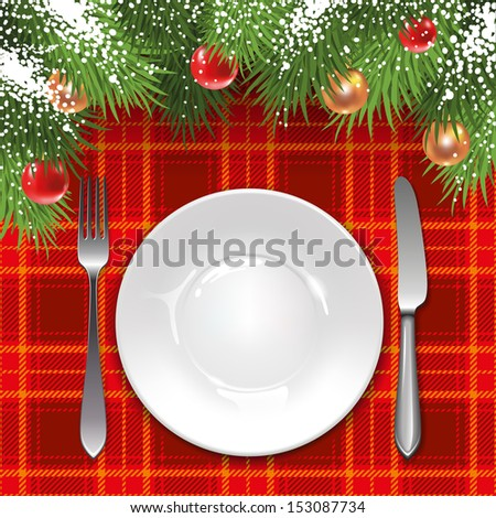 Christmas menu template with holiday decorations and tartan tablecloth. - stock vector