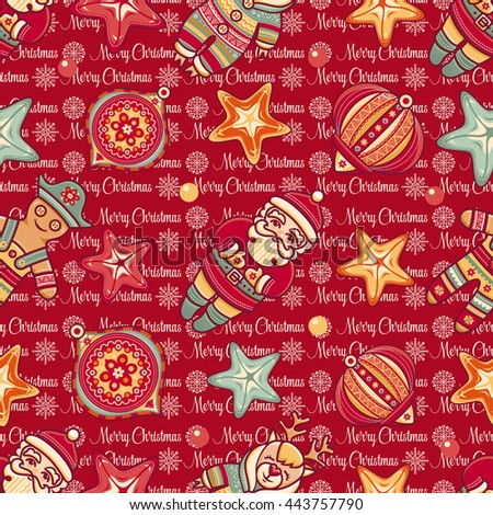 Christmas. Merry. Seamless pattern. Abstract background. Holiday ornament. Season decoration. New year template. Festive texture. Winter decorate toy. Best for greeting card, invitation. Vector image. - stock vector