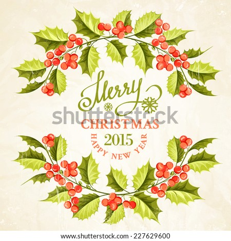 Christmas mistletoe branch frame drawing with holiday text. Vector illustration. - stock vector