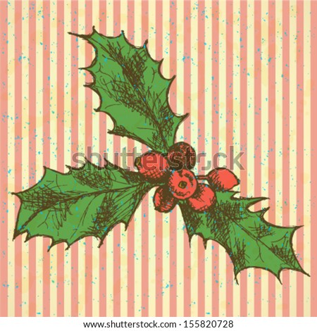 Christmas mistletoe, vector sketch background - stock vector