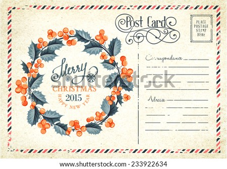 Christmas mistletoe wreath drawing with holiday text. Vector illustration. - stock vector