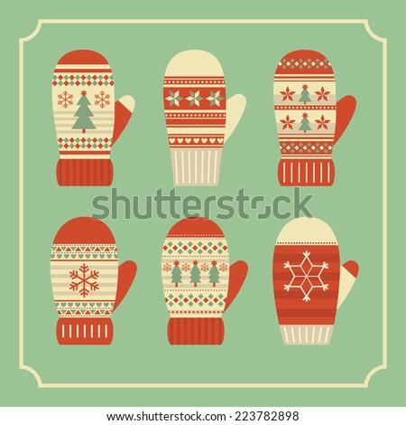 christmas mittens card design. vector illustration - stock vector