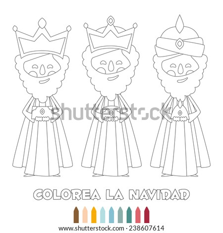 Christmas monochrome outline, three wise men, coloring, vector  - stock vector