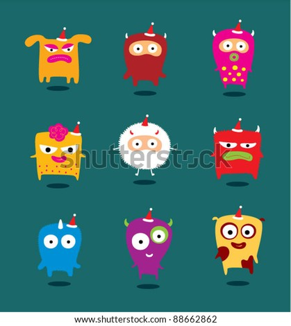 christmas monster collection - stock vector