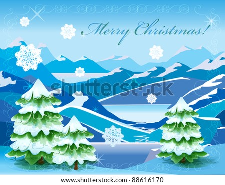 Christmas  mountain landscape with tree covered with deep snow
