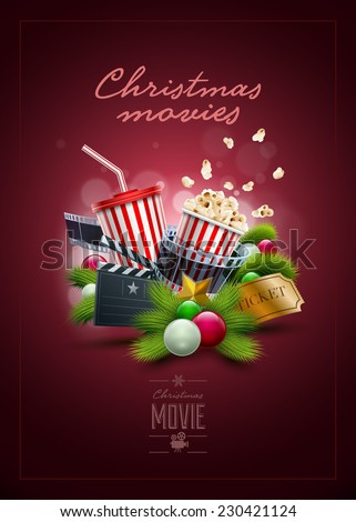 Christmas movie concept design template. Elements are layered separately in vector file. - stock vector