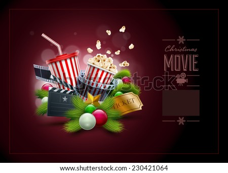 Christmas movie concept illustration and design template. Elements are layered separately in vector file. - stock vector