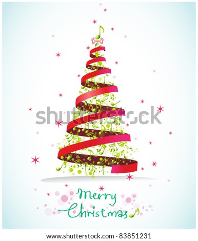 christmas musical card - stock vector
