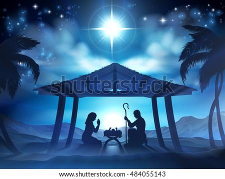 christmas nativity scene baby jesus manger stock vector royalty