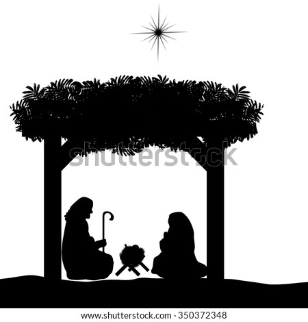 Christmas nativity scene with baby Jesus in the manger, Mary and Joseph in silhouette and star of Bethlehem - stock vector
