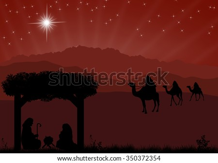 Christmas nativity scene with baby Jesus in the manger, Mary and Joseph in silhouette, three wise men or kings and star of Bethlehem