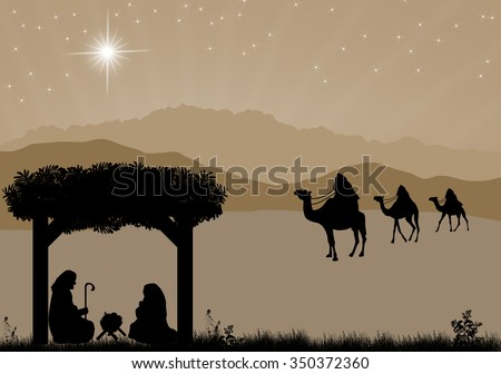 Christmas nativity scene with baby Jesus in the manger, Mary and Joseph in silhouette, three wise men or kings and star of Bethlehem - stock vector