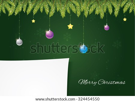 Christmas needles with decoration on green background with snow and snowflakes. Paper for your postcard. Merry Christmas and happy new year! - stock vector