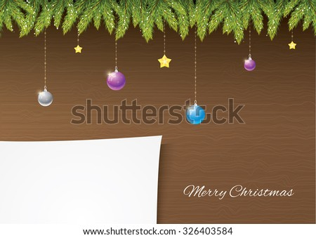 Christmas needles with decoration on wooden background with snow and snowflakes. Paper for your postcard. Merry Christmas and happy new year! - stock vector