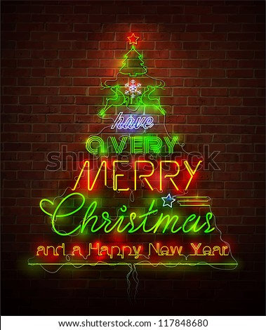 Christmas neon sign against red wall. Vector Illustration. - stock vector