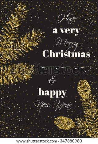 Christmas, new year background with golden glitter fir branches. Isolated. - stock vector