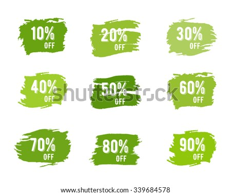 Christmas, new year, black friday, cyber monday or winter autumn sale percents. Vector paint watercolor ink brush, splash. Green palette discount elements. Discounts template. Hand drawn design - stock vector