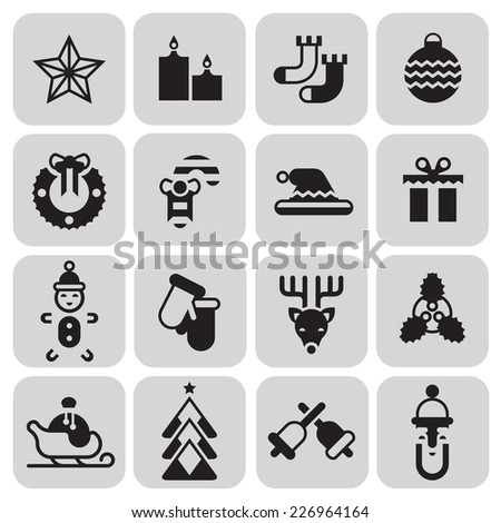 Christmas new year black icons set with star candle socks ball isolated vector illustration. - stock vector