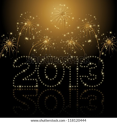 Christmas / New Year card 2013 - stock vector