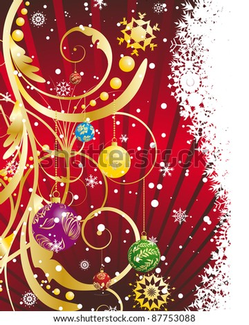 Christmas (New Year) card for design use. Vector illustration.