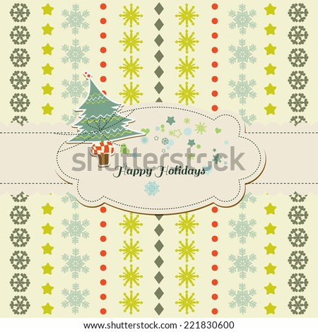 Christmas / New Year cute card, Christmas tree and frame for text - stock vector