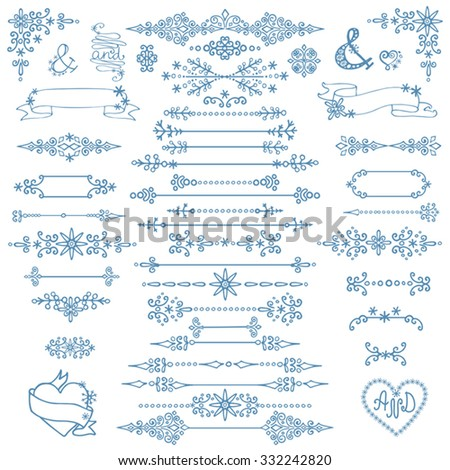 Christmas,New year decoration set.Doodles border,arrows,hearts,love decor elements.For design templates,invitations,wedding,Valentines day,holidays,menu,birthday.Winter Vector - stock vector