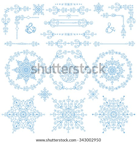 Christmas,New year decoration set.winter Doodles border,corners,wreath Frames ,Snowflakes decor elements.Design templates,invitations,wedding,Valentines day,holidays,menu,birthday.Winter love Vector - stock vector