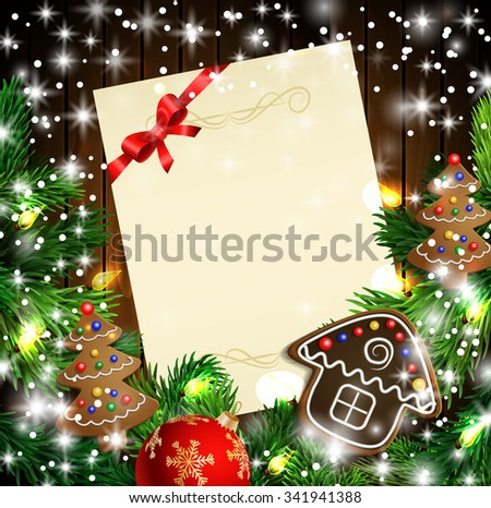 Christmas  New Year design wooden background with christmas lights garland and gingerbread trees and house. Vector illustration, Cristmas tree with text candies and a ball. Paper  - stock vector