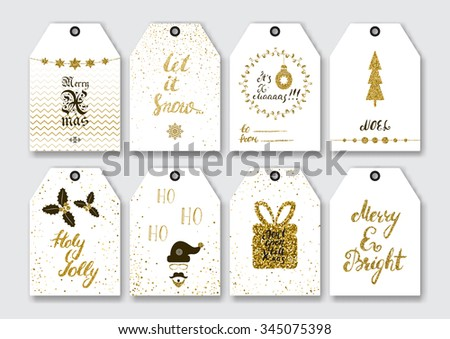 Christmas, New Year gift tags set with gold glitter textured elements and modern ink brush pen calligraphy. - stock vector