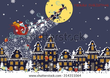 Christmas ,new year greeting card.Santa Claus sleigh with reindeer fly over the city and throws gifts on the background of the moon. House in Dutch style. Horizontal  Design template,invitation card - stock vector