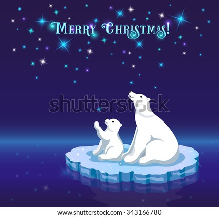 Christmas  New Year Greeting Card with Cute Polar Bears on Ice