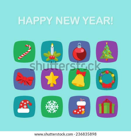 Christmas New Year icon set flat style - stock vector
