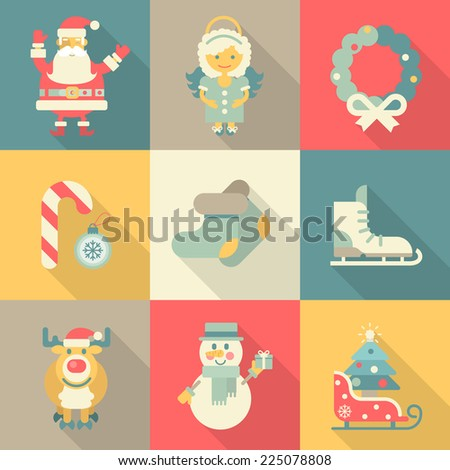 Christmas New Year icon set flat style cartoon funny Santa angel wreath candy skates sledge elk snowman felt boots. Collection of holiday icons web element infographics print template. - stock vector