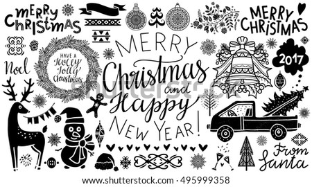 Christmas, New Year icons. Handwritten text. Tree, ball, snowflake, bell, wreath, reindeer, ribbon, flag, snowman, car, wine glass