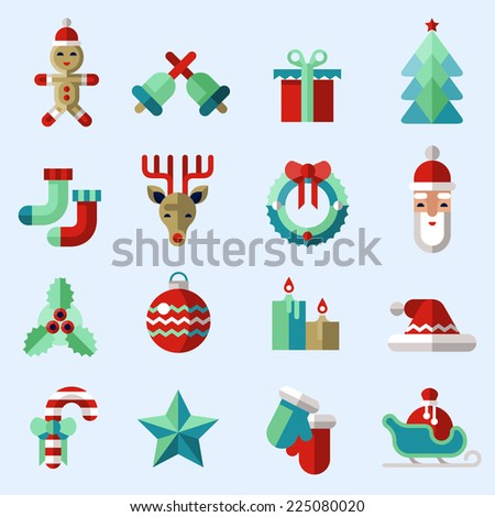 Christmas new year icons set with ginger man bells gift box pine tree isolated vector illustration - stock vector