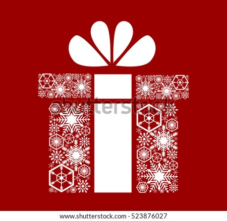 Christmas, New Year's gift. White snowflakes on a red background