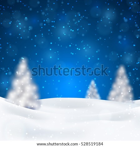 Christmas night background with fir trees and snow, dark blue sky. Vector illustration. Merry Christmas poster. Holiday design, decor. Vector illustration.