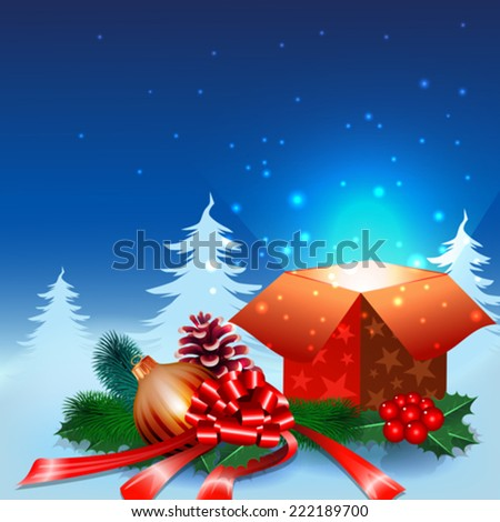 Christmas night background with gift box and ornaments in the snow - stock vector