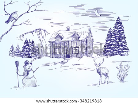 Christmas night. Christmas card hand drawn vector llustration  realistic  sketch - stock vector