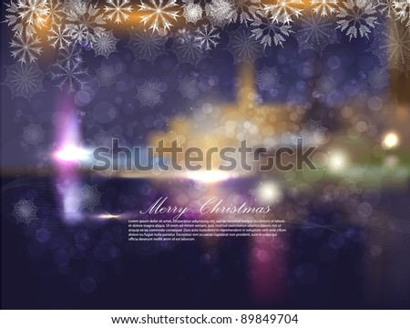 Christmas night city with snowflakes and bokeh. Abstraction a vector a background - stock vector