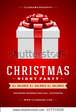 Christmas night party poster or flyer vector illustration. Merry christmas design template vector background and gift box. - stock vector